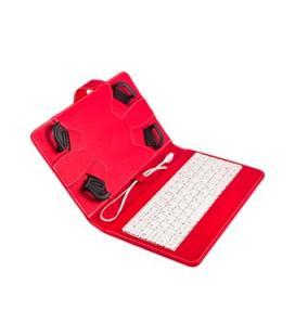 """Funda universal silver ht para tablet 7-8"""" + teclado con cable micro usb rojo/blanco"""