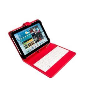 """Funda universal silver ht para tablet 9-10.1"""" + teclado con cable micro usb rojo/blanco"""