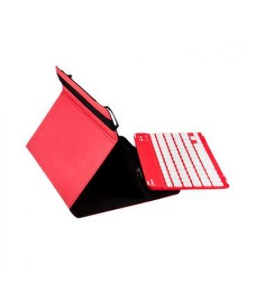 """Funda universal gripcase silver ht para tablet 9-10"""" + teclado bluetooth rojo - Imagen 1"""