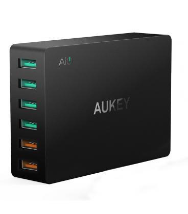 CARGADOR USB PARED AUKEY PA-T11 6PTOS (4+2 RAPIDO) - Imagen 1