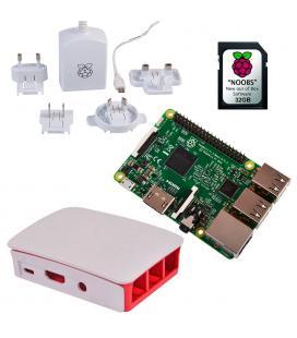 KIT RASPBERRY PLACA BASE PI 3 MODELO B+ / MICROSD 32GB S.O.NOOBS / F.ALIMENTACION / CAJA ROJA-BLANCA