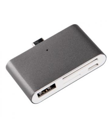 Adaptador silver ht type c 2 en 1 (usb/sd/tc) dark grey - Imagen 1