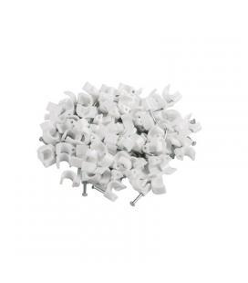 Grapa plástica lanberg org01-cc50-101 para cable redondo 5mm - color blanco - 100 unidades