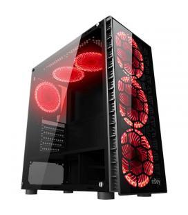 Caja semitorre njoy vanguard - 2*usb 3.0 + usb 2.0 - 6 ventiladores led (3 delanteros+2 superiores+1 trasero) - panel lateral -