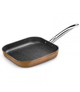 Grill con rayas copper monix m740030 - 28*28cm - espesor base 4mm - aluminio forjado con antiadherente quantanium - todo tipo