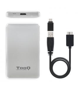 CAJA HDD TOOQ TQE-2531S 2.5'' SATA USB3.1 9,5MM PLATA ADAPT. USB-C