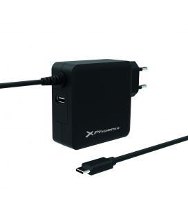 Cargador para portatiles tipo c phoenix con cable integrado y puerto de carga usb 2.4a
