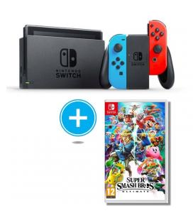 Consola nintendo switch red&blue + juego súper smash bros. ultimate