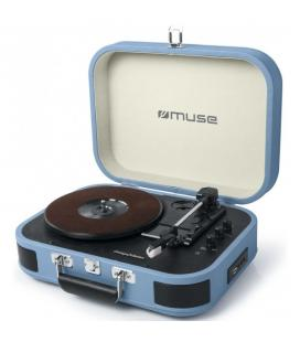 TOCADISCOS ESTEREO 3 VELOCIDADES 33/48/78 RPM , BLUETOOTH , SALIDA RCA , NEGRO AZUL