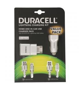 Pack cargadores duracell valuepack drbun002-eu - cargador de pared 2.1a + cargador de coche 2.4a + cable lightning 1m + cable