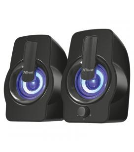 Altavoces 2.0 trust gemí rgb black - 12w (6w rms) - iluminación led con ciclo de colores - mando volumen delantero -