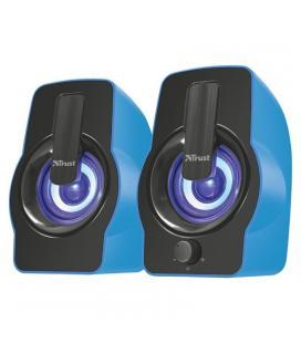 Altavoces 2.0 trust gemí rgb blue - 12w (6w rms) - iluminación led con ciclo de colores - mando volumen delantero -