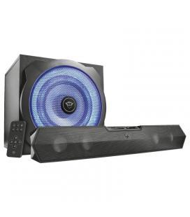 Barra de sonido 2.1 trust gaming gxt 668 tytan - 120w (60w rms) - subwoofer madera con iluminación led - jack 3.5mm - entrada