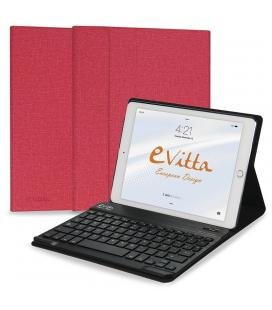 Funda con teclado extraible e-vitta keytab bluetooth roja para ipad 2018 - posición stand - cierre pestaña imantada - Imagen 1