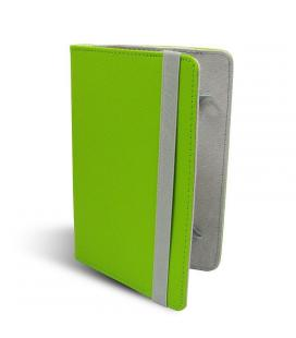 Funda universal leotec left09g verde - para tablets 9'/22.86cm - tipo libro - ajuste mediante ganchos elásticos