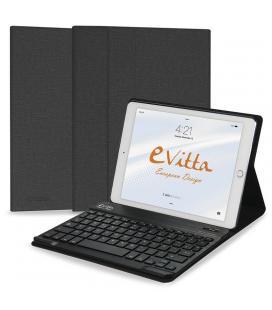 Funda con teclado extraible e-vitta keytab bluetooth negra para ipad 2018 - posición stand - cierre pestaña imantada - Imagen 1