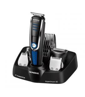 Corta pelo afeitadora mondial bg03 multi grooming 10 - 5 cabezales - 5 guías de corte - batería recargable - autonomía de 90 min