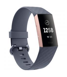 Pulsera cuantificadora fitbit charge 3 oro rosa-gris - bt - pantalla táctil - sensor cardiaco - salud femenina - notificaciones