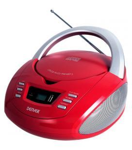 Reproductor cd denver tcu-211 red - 2x 1w rms - pantalla lcd - usb - mp3 -radio fm - entrada auxiliar
