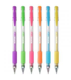 Blister 6 unidades bolígrafo tinta gel pastel grafoplas kores - azul - lila - rosa - naranja - amarillo - verde - punta 1mm