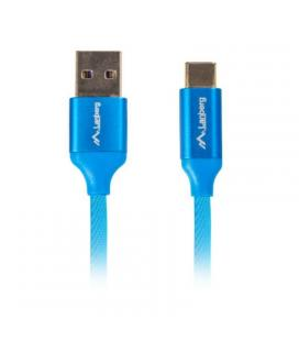 Cable lanberg ca-usbo-22cu-0018-bl - conector usb tipo-c macho a usb a-macho - soporta carga rapida 3.0 - 1.8m - azul