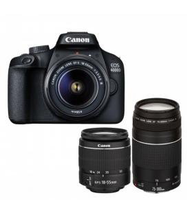 Camara digital reflex canon eos 4000d 18-55 dc + 75-300 dc/ cmos/ 24.1mp/ digic 4+/ full hd/ bolsa viaje/ sd 16gb - Imagen 1