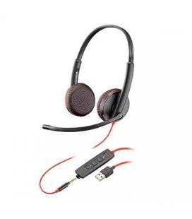 Auriculares plantronics blackwire c3200 - binaural - micrófono con cancelación de ruido - control remoto en cable - usb