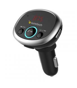 Transmisor fm/mp3 bluetooth para coche sunstech fmt300btusb black - 12/24v - pantalla 2.16cm - 2*usb (5v/2.1a) - micro sd - - Im
