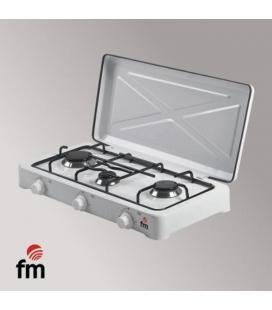 Hornillo fm hg-300 - 3 quemadores - gas butano/propano - parrilla y quemador desmontables - acabado en esmalte vitrificado -