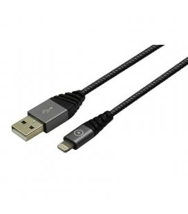 Cable usb-lightning muvit tiger tgusc0001 - mfi - 2.4a - ultrarresistente - 1.2m - gris
