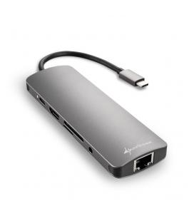 HUB USB SHARKOON 3X3.0 TIPO C,RJ45 LECTOR TARJETAS,HDMI GRIS - Imagen 1