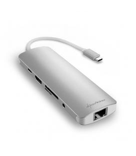 HUB USB SHARKOON 3X3.0 TIPO C,RJ45 LECTOR TARJETAS,HDMI PLATA