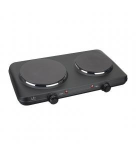 Placa eléctrica de cocina jata ce220 - 2250w - 2 termostatos regulables - 2 placas caloríficas - pilotos luminosos - protecc.