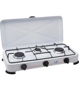 Hornillo jata cc706 - apta para todo tipo de gas licuado - 3 quemadores - parrilla - tapa protectora extraíble