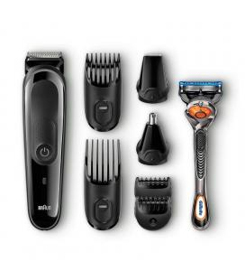 Afeitadora barbero braun multi groomer mgk-3060 - 8 accesorios - 13 ajustes de longitud para recortar barba - lavable