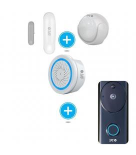 Kit de seguridad spc 6911k compuesto por sensor inteligente aperio + sensor movimiento kinese - alarma wifi sonus + videotimbre