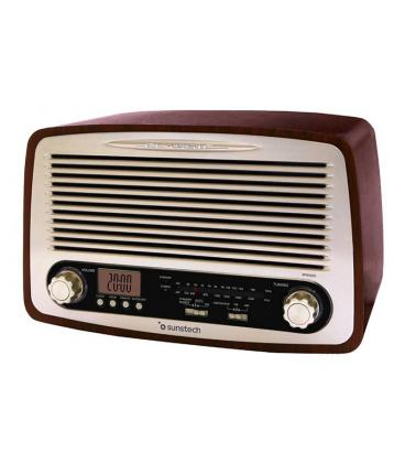 Radio retro sunstech rpr4000 madera - 2*3w rms - am/fm - pantalla lcd - reloj y alarma - usb/sd/aux-in - red/2*aaa - Imagen 1