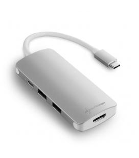 HUB USB SHARKOON 3X3.0 TYPE C + HDMI ALUMINIO PLATA