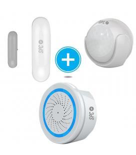 Kit de seguridad spc 6908k compuesto por sensor inteligente puertas/ventanas aperio + sensor movimiento kinese + alarma wifi