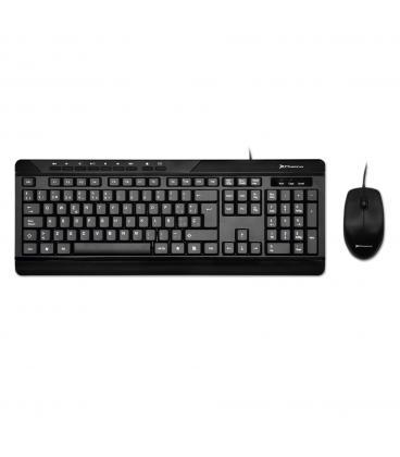 Combo teclado qwerty español multimedia phoenix phcombokeymedia+ con cable + raton mouse optico cable usb phoenix - Imagen 1