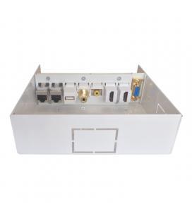 Caja de conexiones multimedia aisens a127-0340 - vga - 2*hdmi - jack3.5 - rca - 1*usb - 2*rj45 - cat 6a - stp - blanco