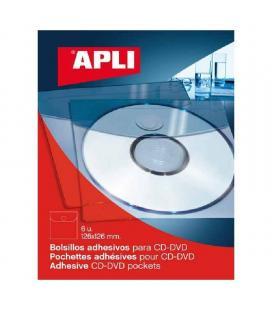 Pack 6 unidades bolsillos adhesivos para cd-rom apli 2585 - 126*126cm - color transparente