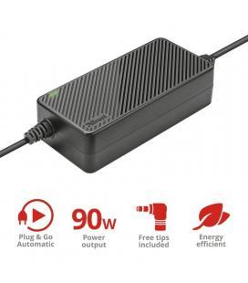 Cargador automatico de corriente universal trust xera 90w - plug and go - 16/19v / 4.62a - 12 conectores