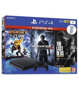 CONSOLA SONY PS4 SLIM 1TB + 3 JUEGOS (RATCHET & CLANK - UNCHARTED 4 - THE LAST OF US)