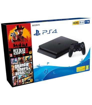 CONSOLA SONY PS4 SLIM 1TB + RED DEAD REDEMPTION 2 + GRAND THEFT AUTO V