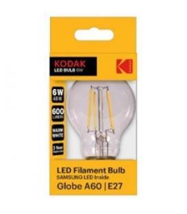 Bombilla kodak filamento cristal a60 - e27 - 600lm - calido 3000k - 6w=48w - no regulable