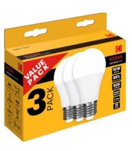 Pack 3 x bombilla kodak led globo a60 - e27 - 806lm - calido 3000k - 10w=60w - no regulable