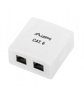 Roseta de pared lanberg ou6-0002-w - 2*rj45 cat.6 - conectores idc/lsa - permite cables 26-22 awg - blanco