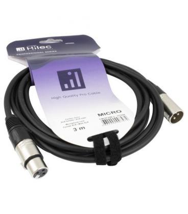 CABLE XLR MACHO A XLR HEMBRA 3m HILEC - Imagen 1