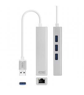 Adaptador usb 3.0 a ethernet gigabit nanocable 10.03.0403 - conectores 3*usb 3.0 macho/ rj45 hembra/ 3*usb 3.0 hembra - 15cm -